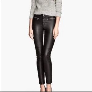 H&M Divided faux leather pants black